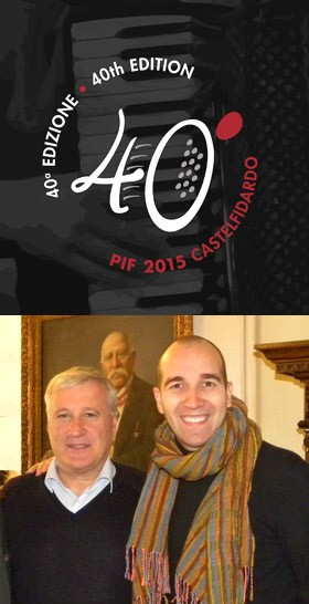 PIF 40th Logo, Castelfidardo Mayor Mirco Soprani and Mario Stefano Pietrodarchi